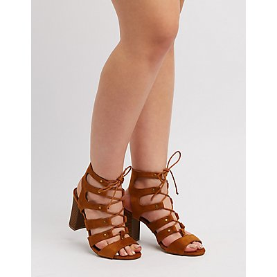 Wide Width Caged Lace-Up Sandals