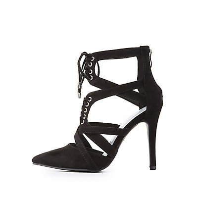 Wide Width Caged Lace-Up Heels