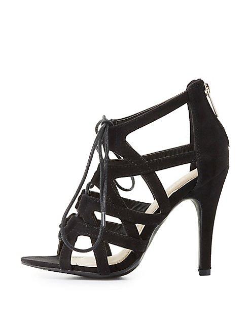 e0e84937f0d Wide Width Caged Lace-Up Dress Sandals