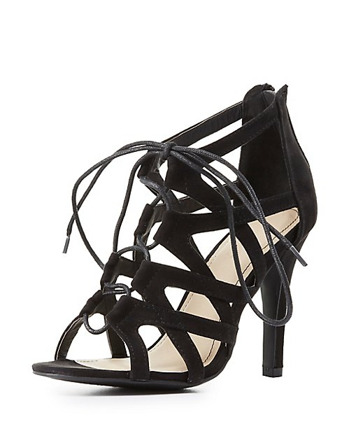 9cdd11bdbcc ... Wide Width Caged Lace-Up Dress Sandals