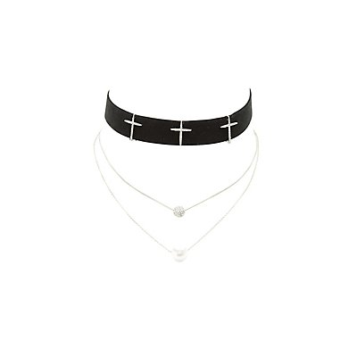 Velvet Cross Necklace & Layering Necklace - 2 Pack