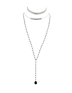 Beaded, Chainlink & Glitter Choker Necklaces - 3 Pack
