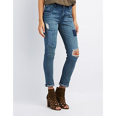 Refuge Patchwork Boyfriend Destroyed Jeans