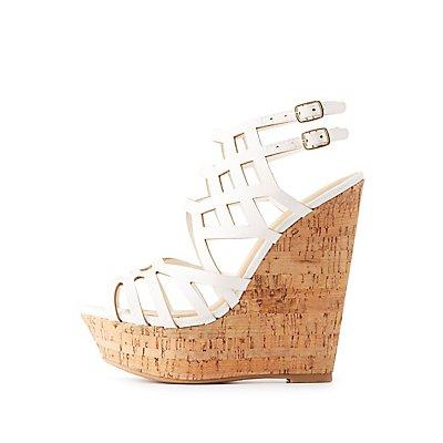 Caged Cork Wedge Sandals