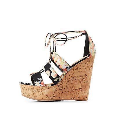 Bamboo Floral Lace-Up Wedge Sandals