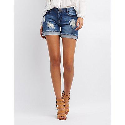 Machine Jeans Girlfriend Destroyed Denim Shorts