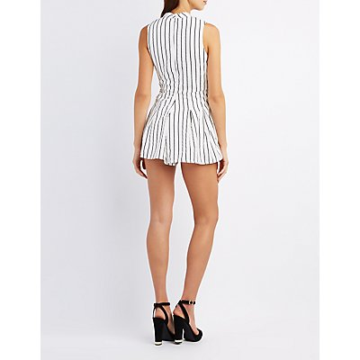 Striped Choker Neck Romper
