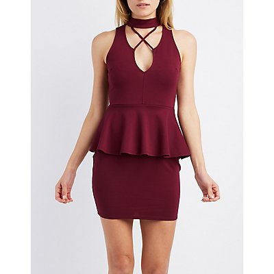 Strappy Mock Neck Peplum Dress