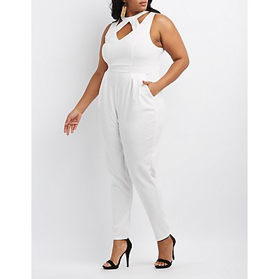 Plus Size Caged Cut-Out Jumpsuit