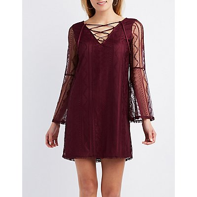 Lace Lace-Up Shift Dress