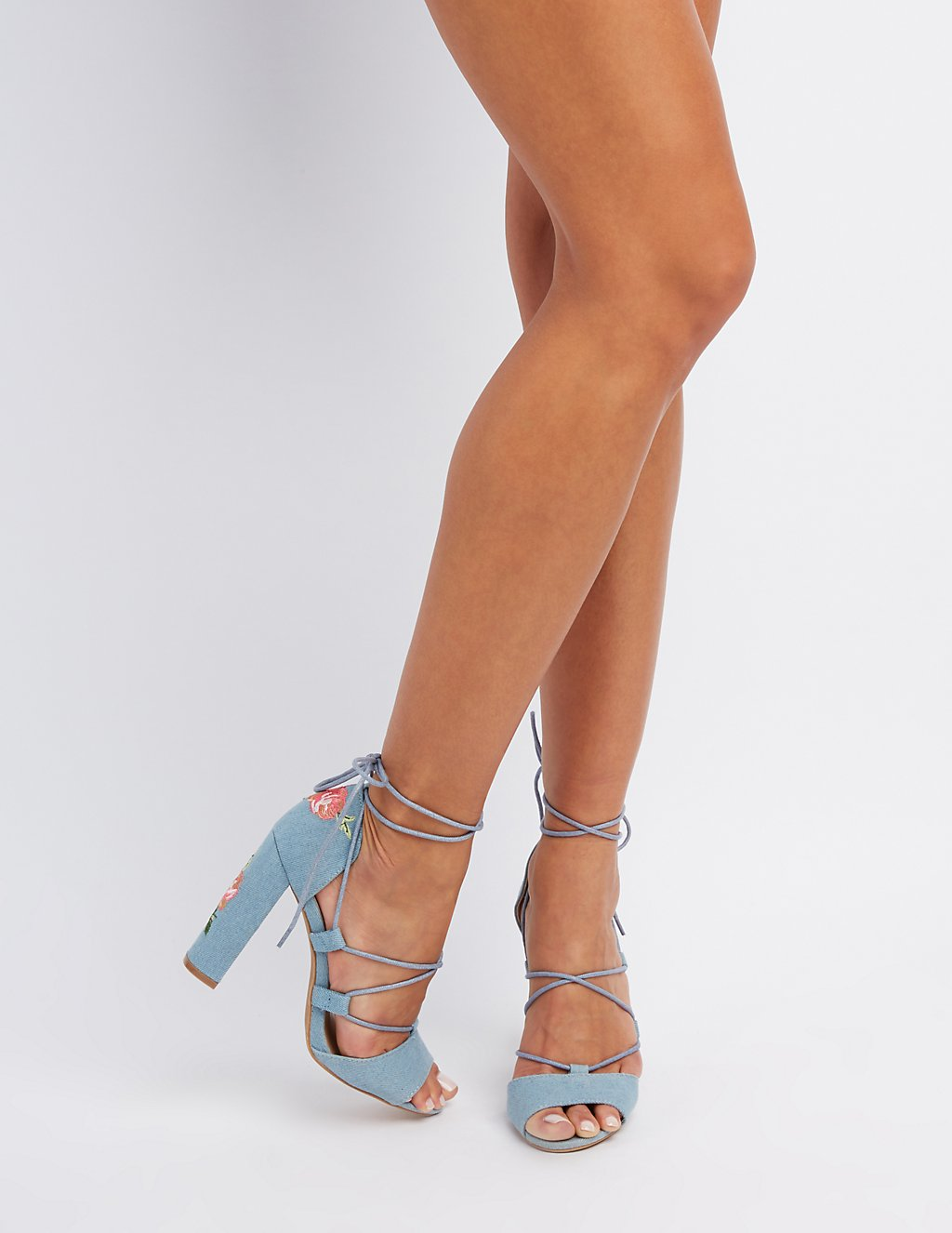 Rose embroidered denim lace up sandals charlotte russe rose embroidered denim lace up sandals ccuart Image collections