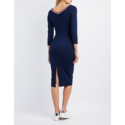 Varsity Striped Ringer Midi Dress