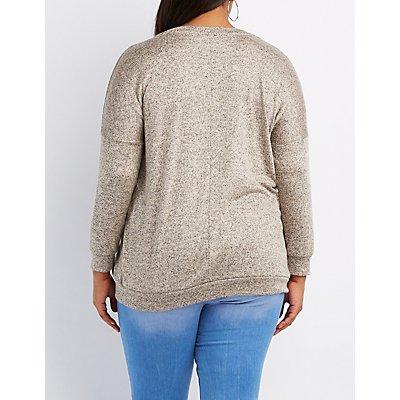 Plus Size Marled V-Neck Sweatshirt