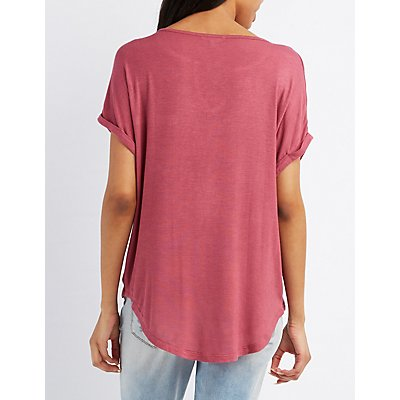 Split Neck Boyfriend Tee