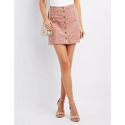 Corduroy Button-Up Skirt