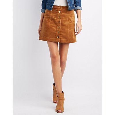 Corduroy Button-Up Skirt