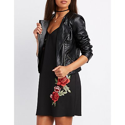 Faux Leather Collarless Moto Jacket