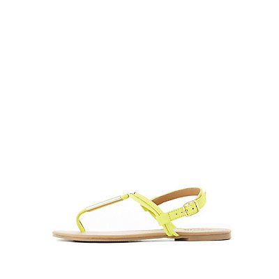 Gold-Tipped T-Strap Sandals