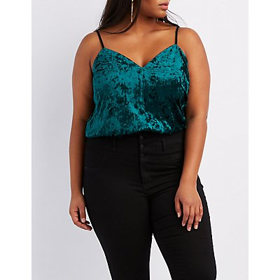 Plus Size Velvet V-Neck Bodysuit