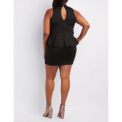 Plus Size Strappy Mock Neck Peplum Dress