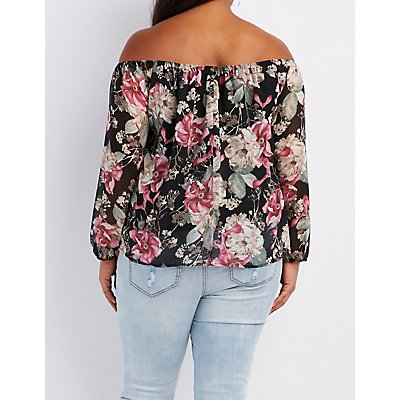 Plus Size Floral Off-The-Shoulder Notched Top