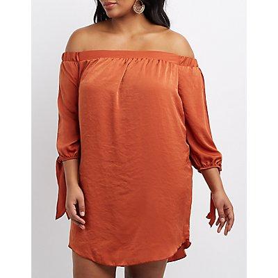 Plus Size Satin Off-The-Shoulder Shift Dress