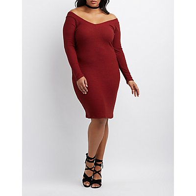Plus Size Brushed V-Neck Midi Dress