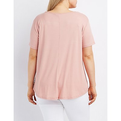 Plus Size Strappy Ribbed Tee