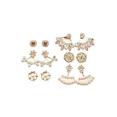 Embellished Ear Jacket & Stud Earrings Set