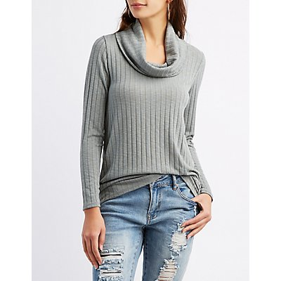 Ribbed Cowl Neck High-Low Top