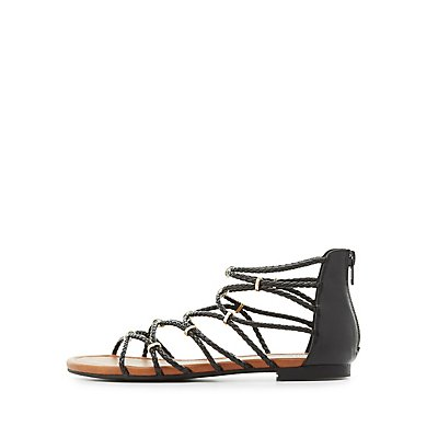 Gold-Trim Braided Strappy Sandals