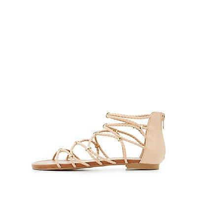 Gold-Trim Braided Strappy Sandals