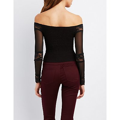 Mesh & Lace Off-The-Shoulder Crop Top