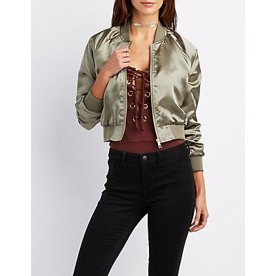 Satin Cropped Bomber Jacket