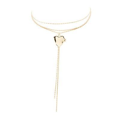 Layered Locket Choker Necklace