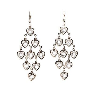 Heart Crystal Kite Earrings