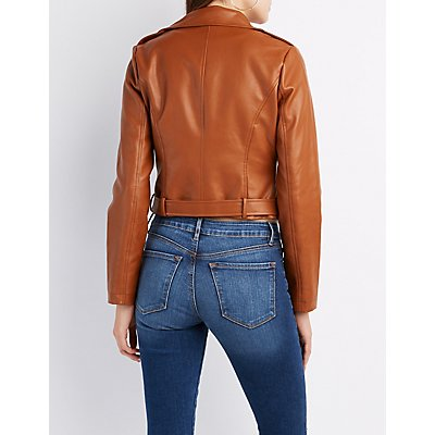Belted Faux Leather Moto Jacket