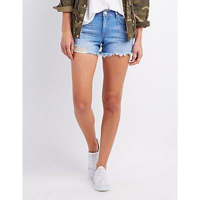 Refuge Girlfriend Cut-Off Denim Shorts