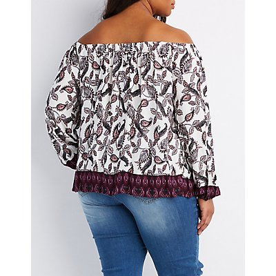 Plus Size Lace-Up Off-The-Shoulder Top