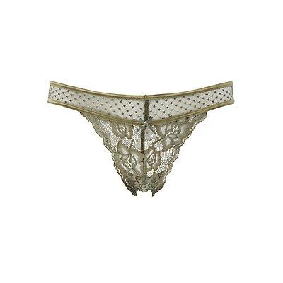 Lace & Mesh Thong Panties