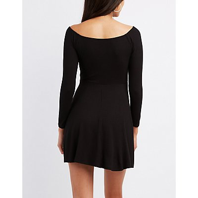 Ribbed Tie-Front Skater Dress