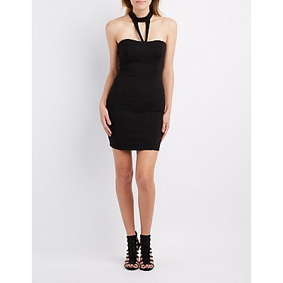 Caged Mock Neck Bodycon Dress