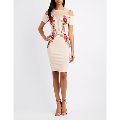 Embroidered Cold Shoulder Bodycon Dress