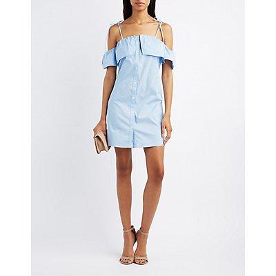 Cold Shoulder Button-Up Dress