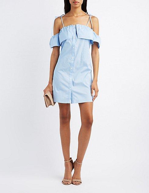 bd91df71213 Cold Shoulder Button-Up Dress