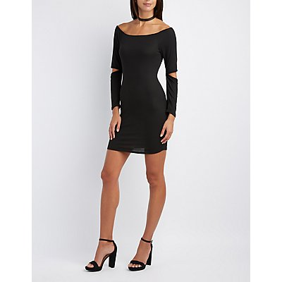 Ribbed Cold Elbow Bodycon Dress