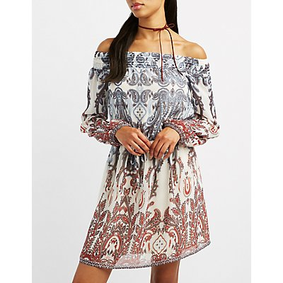 Paisley Smocked Off-The-Shoulder Dress