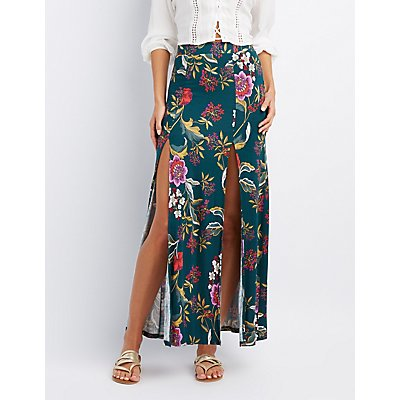 Floral Double Slit Maxi Skirt