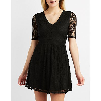 Lace Open Back Skater Dress