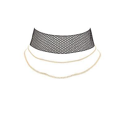 Plus Size Mesh Layered Choker Necklace